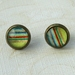 lime striped stud earrings