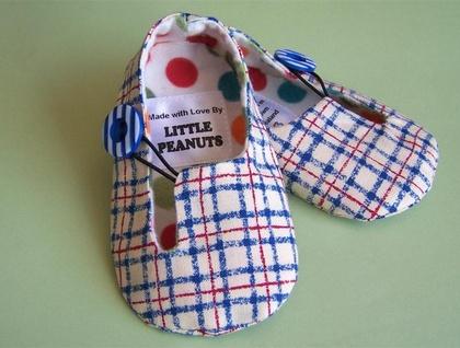 Handmade Baby Cloth Booties - Beach Check