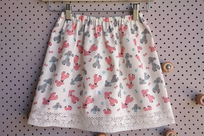 Poodle Print Little Girls Skirt