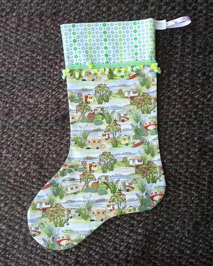 NZ Christmas Caravan Stocking with Pompom Trim