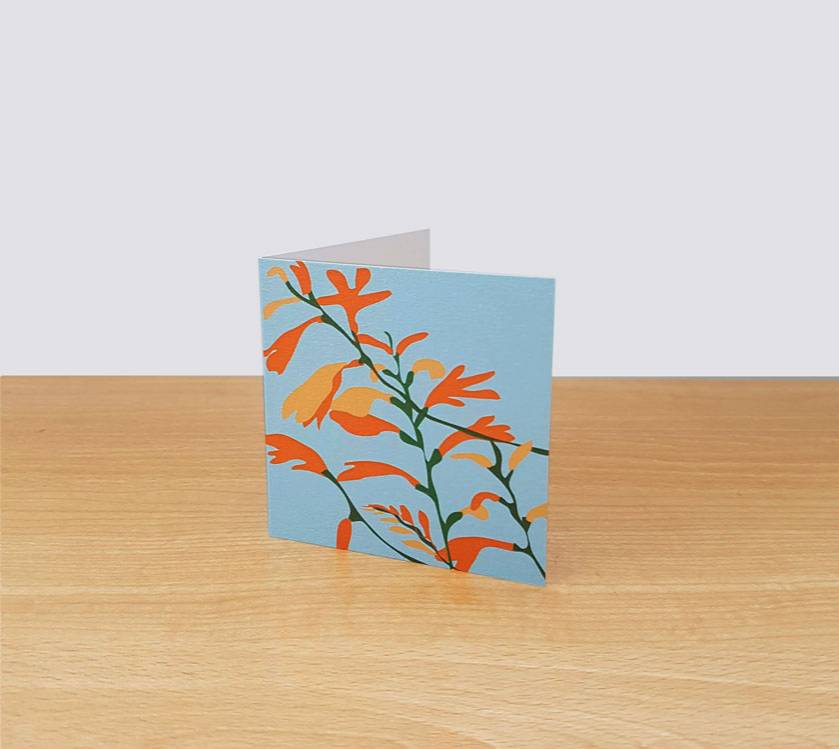 Montbretia on Blue Gift Card