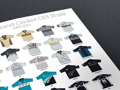 History of New Zealand One Day Cricket Shirts 1980-2015 A3 Poster