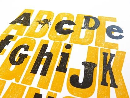 A Bee See - Letterpress Wood Type A3 Print