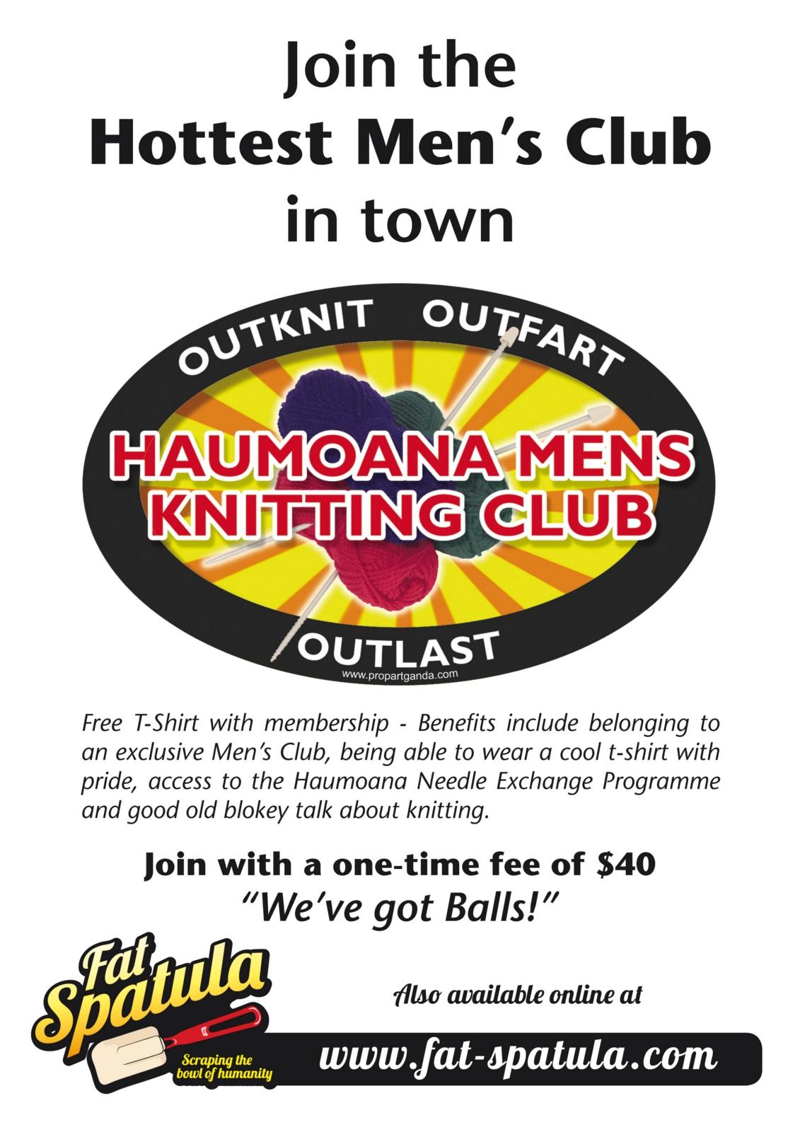 Knitting Club Logo : Haumoana mens knitting club felt