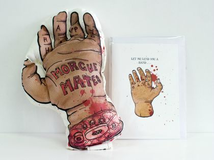 Happy Hand and card- part of the Morgue Mates