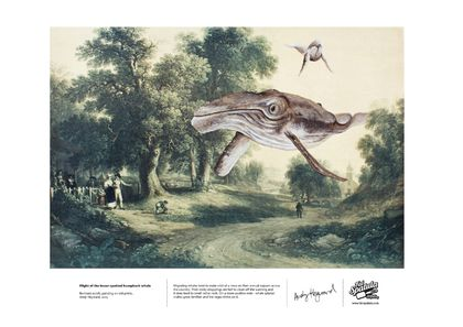 Flight of the lesser-spotted humpback whale - Print - A3
