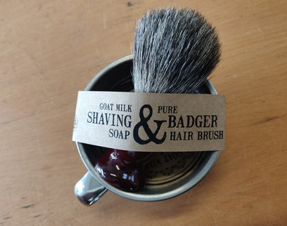 Goats Milk Shaving Soap with Pure Badger Hair Brush
