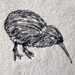 Kiwi freehand embroidered bird cushion cover