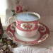 Vintage teacup Soy Candle - Pretty in Pink Allerton Staffordshire bone China