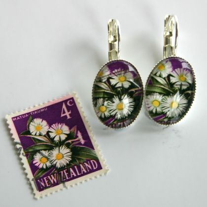 Mountain Daisy Stamp Earring Silver Plated