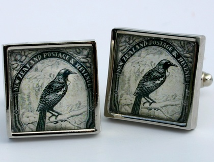 Tui 1935 NZ Postage Stamp Cufflinks Stainless Steel