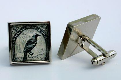 Tui 1935 NZ Postage Stamp Cufflinks Stainless Steel