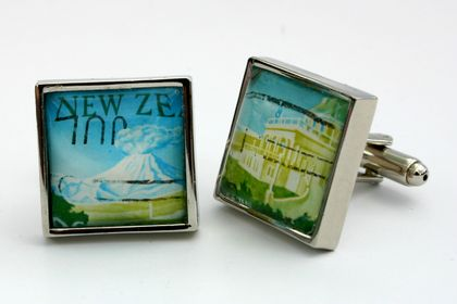 Tongariro National Park and the Chateau Hotel 1960 NZ Postage Stamp Cufflinks