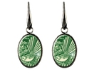 Fantail Postage Stamp Earring Elegant Drop Oval or Round