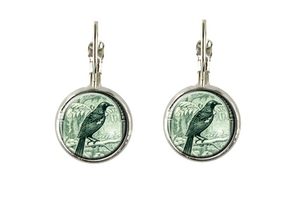 Tui Postage Stamp Earring Lever Back Oval or Round