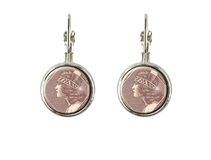 Wahine Postage Stamp Earring Drop Oval or Round