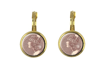 Wahine Postage Stamp Earring Lever Back Oval or Round