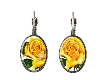 Rose 1975 Postage Stamp Lever Back Earrings