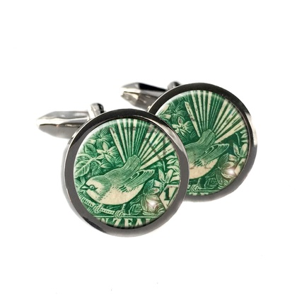 Fantail 1935 NZ Postage Stamp Cufflinks Stainless Steel
