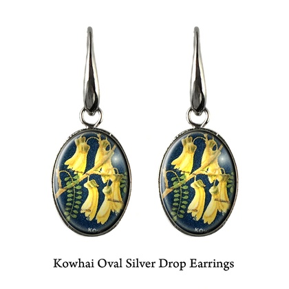 Native NZ Flower Kowhai Postage Stamp Earrings