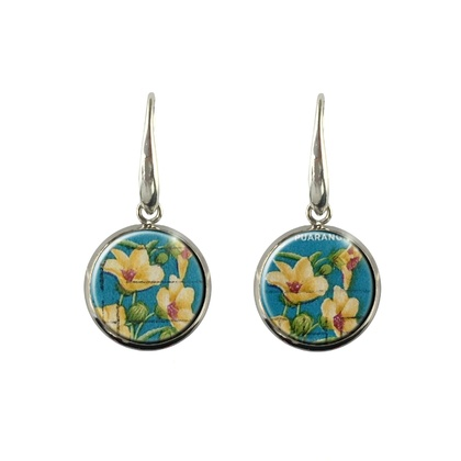 Native NZ Flower Hibiscus Postage Stamp Earrings