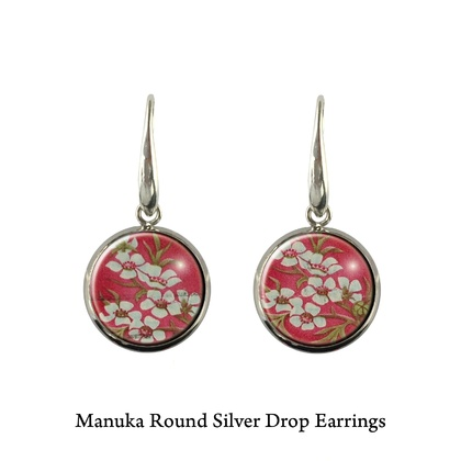 Native NZ Flower Manuka Postage Stamp Earrings