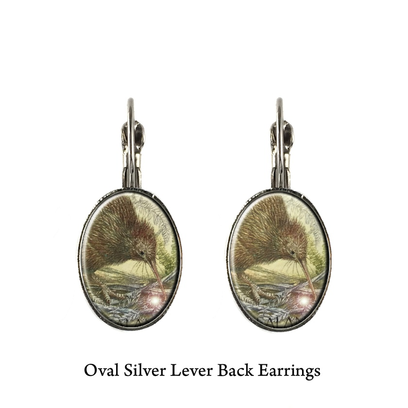 Native Bird Kakapo or Kiwi Postage Stamp Earrings