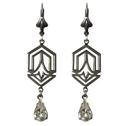Art Deco  beautiful silver drop with vintage crystal