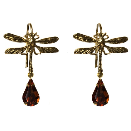 victorian dragonfly gold plated, with crystal pear drop