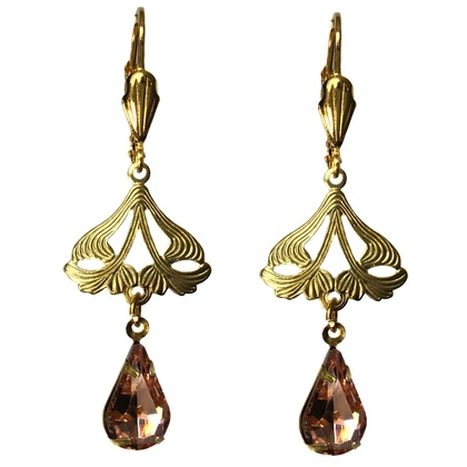 Vintage Style filigree Nouveau leaves with crystal drops GOLD