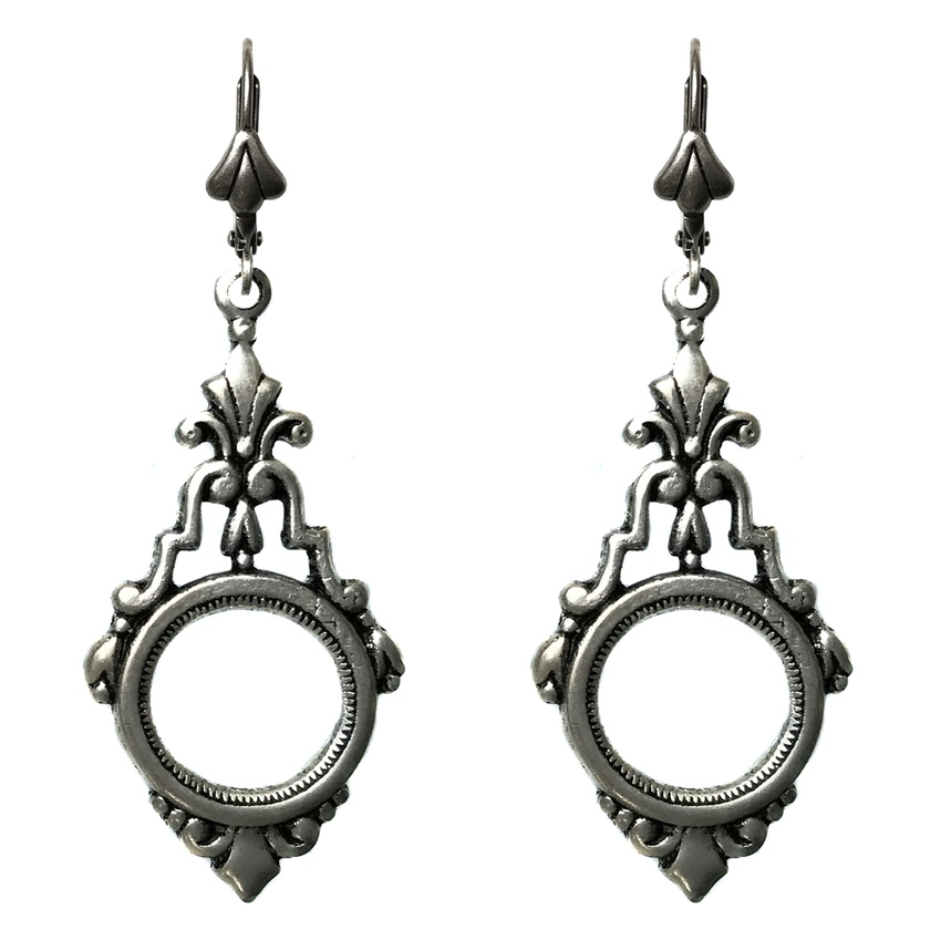 Nouveau thistle drop sterling silver plated earrings