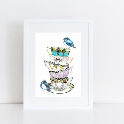 Teacups stack with blue birds print