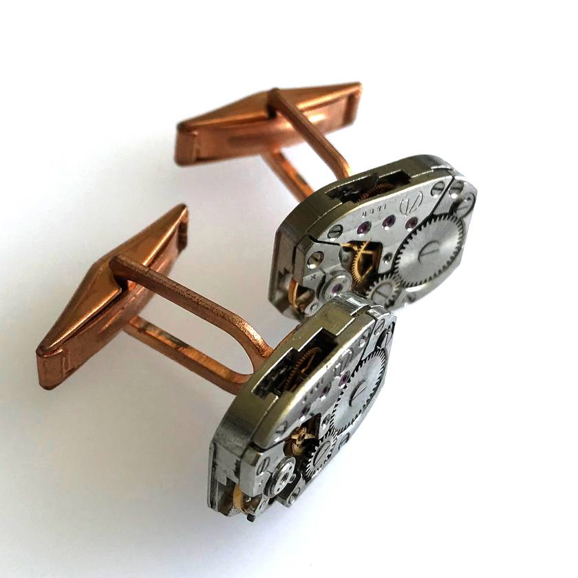 Industrial watch movement cufflinks