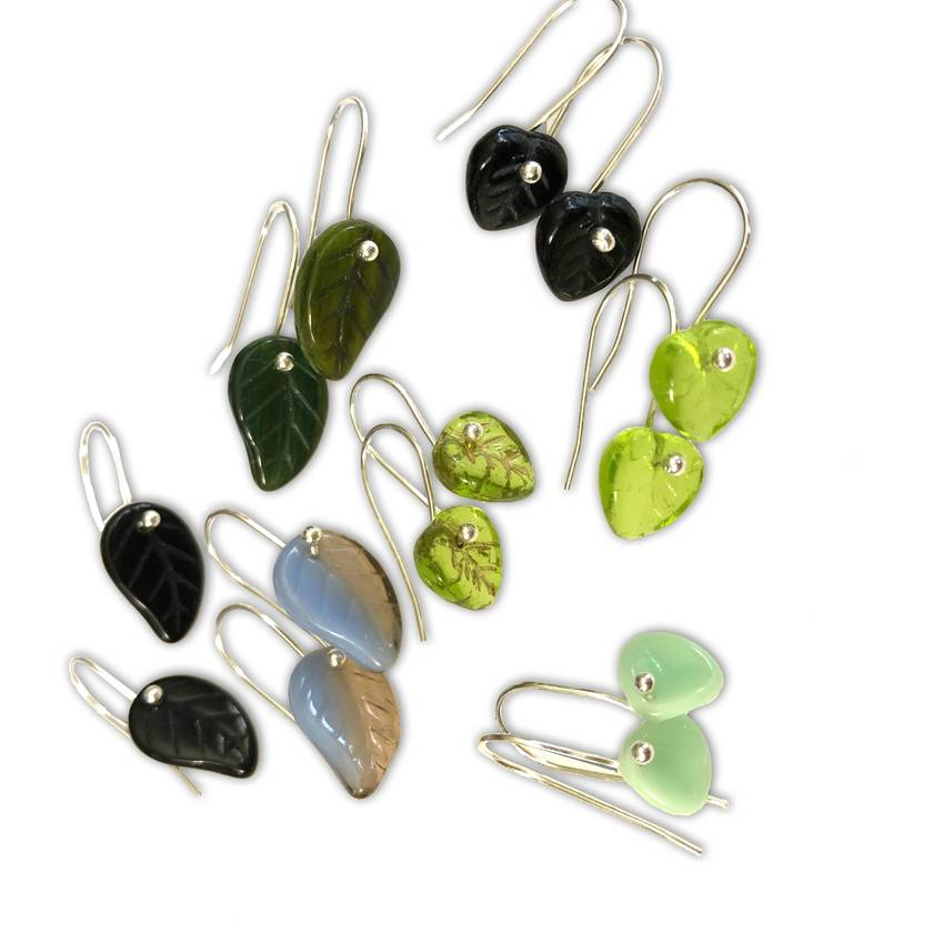 Sterling silver and Czech glass leaf earrings