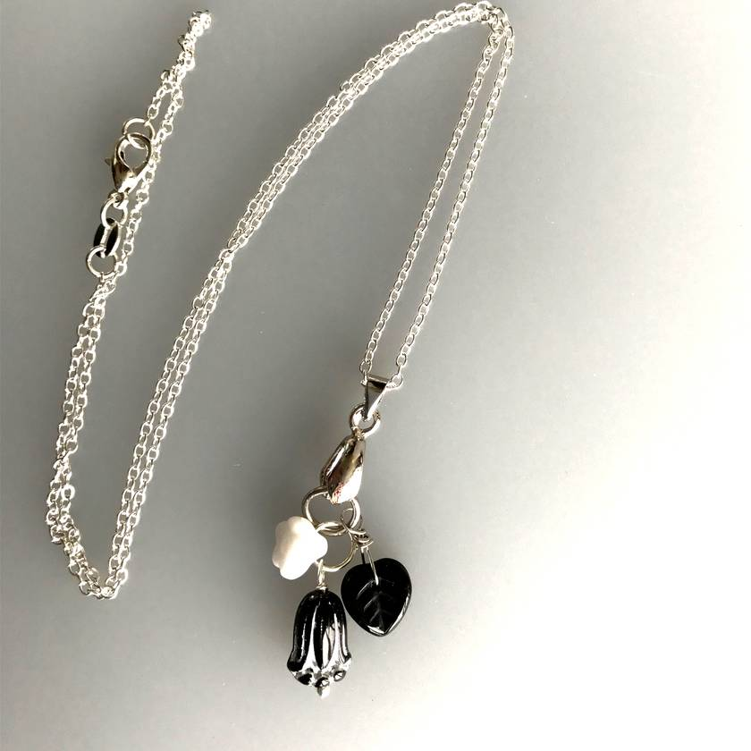 Czech glass Black Tulip Sterling Silver Earrings or Necklace