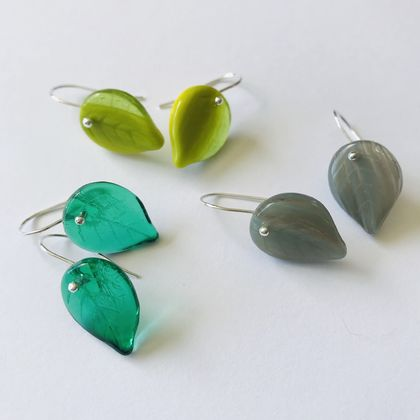 Sterling silver and czech glass leaf earrings medium