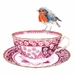 Tea Cup and Bird  Spode Pink China limited edition