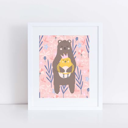 "Bear and Bird Print ""I love you"" Pink or Blue"
