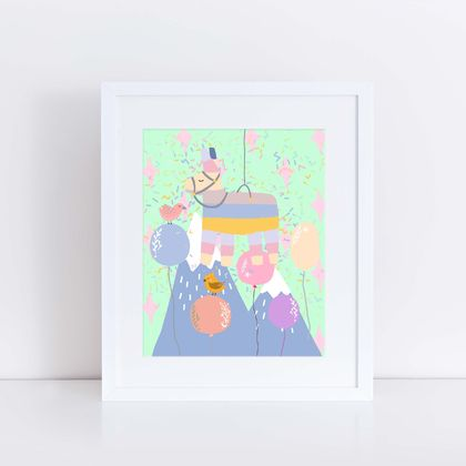Pinata Party Print with balloons and birds