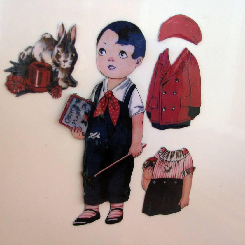 Vintage dress me dolly magnets -boys
