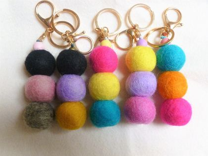 Felt Ball Keyring - clip onto bags