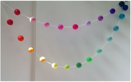 Rainbow Felt Ball Garland 2M 2.5cm