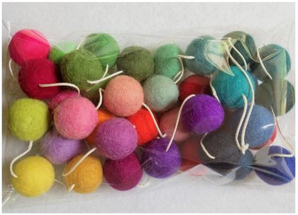Rainbow Felt balls Garland 3 metres adjustable