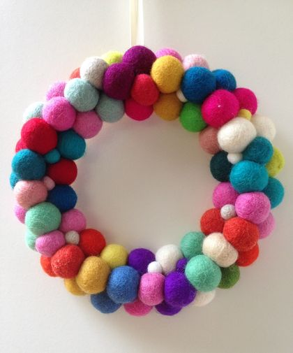 Multicolour Felt Balls Wreath - wall decoration