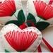 3 Pohutukawa Christmas Heart Decorations
