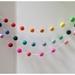 Rainbow/Multicolor Felt balls Garland 3 metres adjustable