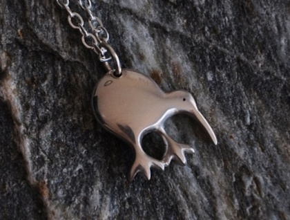 Little Sterling silver Kiwi on sterling chain.