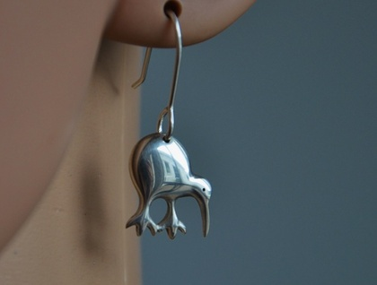 Sterling silver Kiwi earrings.