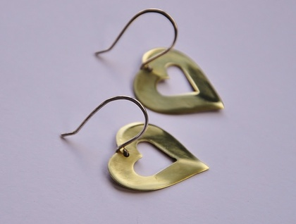 Polished Brass Heart earrings with sterling silver ear hooks