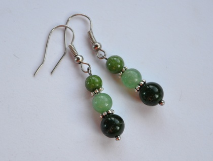 Greenstone & silver earrings